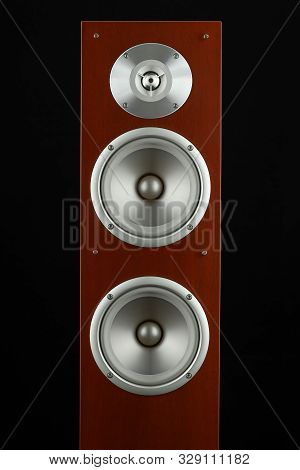 Red Wooden High Gloss Music Speakers Tower Isolated On Black Background