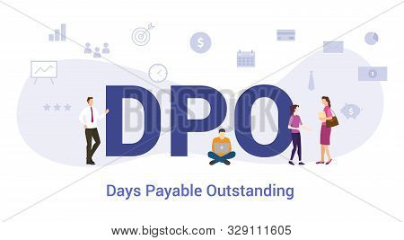 Dpo Days Payable Outstanding Concept With Big Word Or Text And Team People With Modern Flat Style -