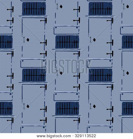 Seamless Pattern Of Rustic Metal Doors With Trellis Windows Above