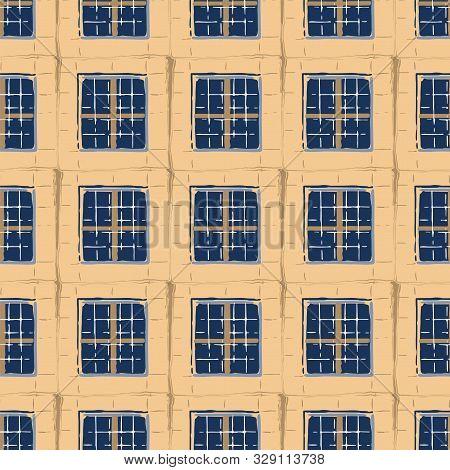 Seamless Pattern Of Ancient Maltese Trellis Windows With Stone Brick Frames.