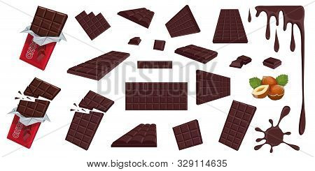 Chocolate. Hazelnut. Dark Chocolate. Sweetened Block Made From Roasted And Ground Cacao Seeds. Dark