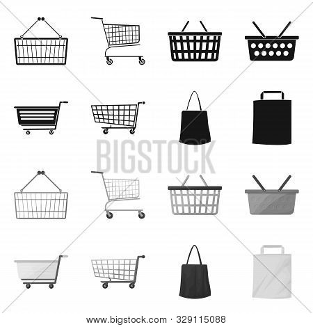 Isolated Object Of Pushcart And Cart Symbol. Collection Of Pushcart And Market Stock Vector Illustra
