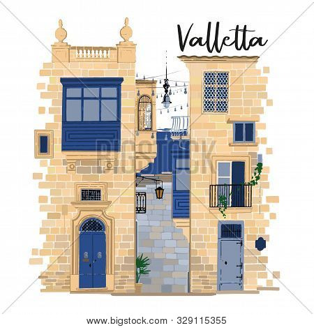 Parts Of Two Traditional Maltese Houses In Valletta Made Of Sandy Stone Bricks With Various Doors, W