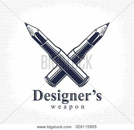Idea Is A Weapon Concept, Weapon Of A Designer Or Artist Allegory Shown As A Firearm Cartridge Cases