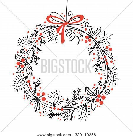 Christmas Festive Wreath Of Fir Branches, Holly, Garland Lights. Graphic Vector Illustration