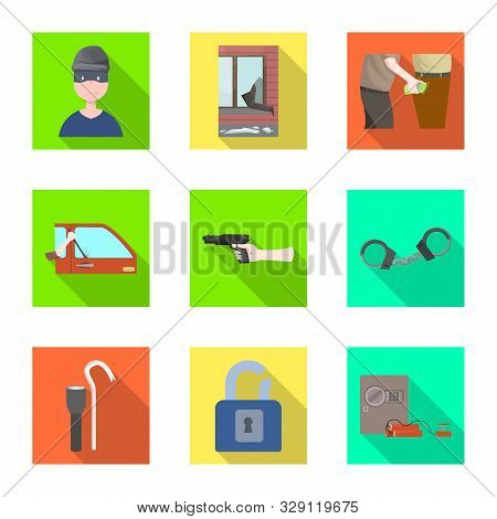 Isolated Object Of Crime And Steal Icon. Set Of Crime And Villain Stock Vector Illustration.
