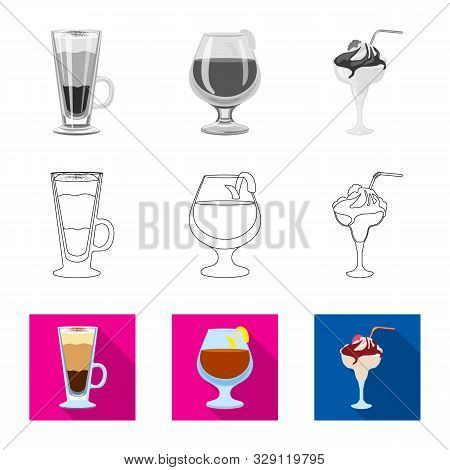 Isolated Object Of Liquor And Restaurant Logo. Set Of Liquor And Ingredient Stock Vector Illustratio