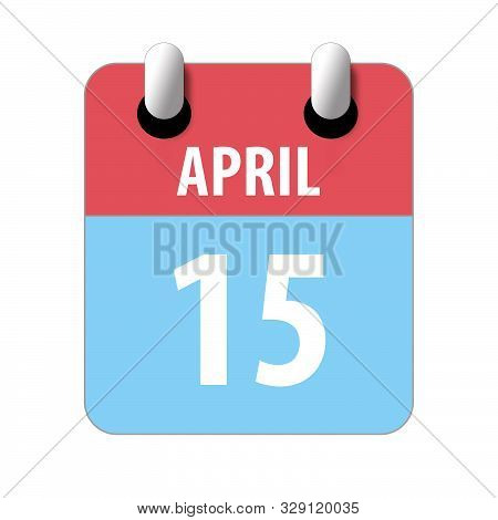 April 15th. Day 15 Of Month, Simple Calendar Icon On White Background. Planning. Time Management. Se