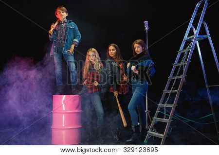 Rebel Youth. Full Length Portrait Of Cocky Children In Stylish Jeans And Leather Clothes. Concept Of
