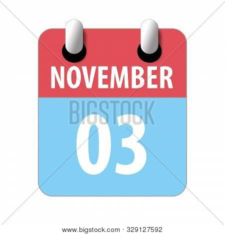November 3rd. Day 3 Of Month, Simple Calendar Icon On White Background. Planning. Time Management. S