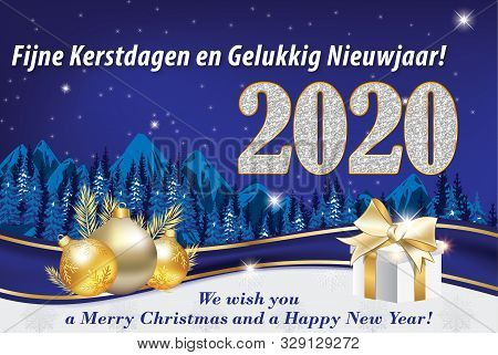 New Year Greeting Card With Text In English And Dutch, With Classic Design: A Winter Landscape Mount