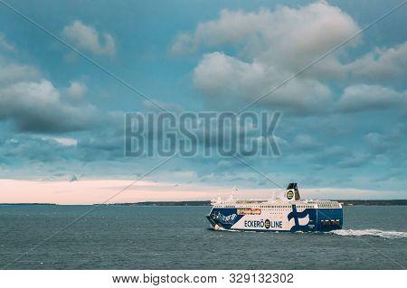 Helsinki, Finland - December 11, 2016: View Of Modern Ferry Boat Ferryboat Eckero E Line Floating In