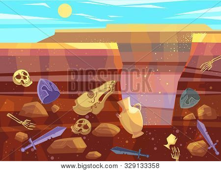 Archaeological Excavations, Cartoon Vector Illustration. Desert Landscape With Sand Dunes, Bright Su