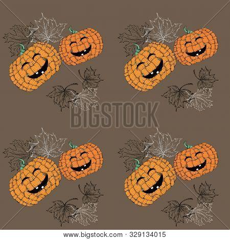 Graphic Doodle Composition Of Pumpkins Using Pointillism Liner Technique