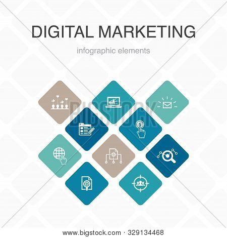 Digital Marketing Infographic 10 Option Color Design.internet, Marketing Research, Social Campaign,