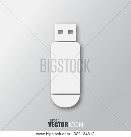 Flash Disc Icon In White Style With Shadow Isolated On Grey Background.
