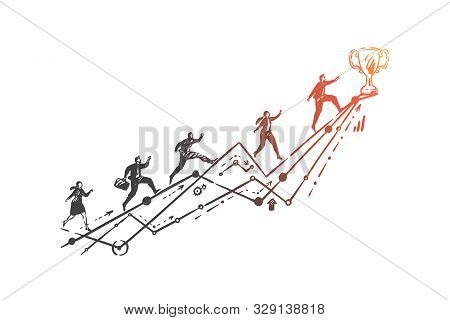 Leadership, Business Competition, Race Concept Sketch. Corporate Worker Character Reaching Trophy, O