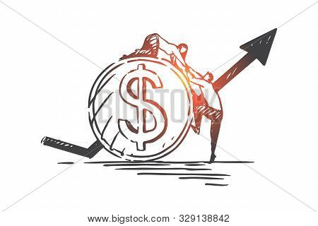 Financial Support, Partnership And Teamwork Concept Sketch. Bank Credit, Money Loan, Finance Consult
