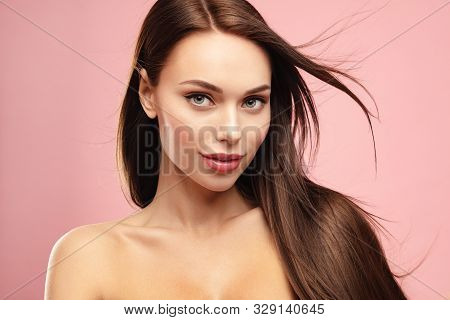Brown Hair Model Face Portrait. Elegant Attractive Woman With Perfect Skin And Natural Make Up Again