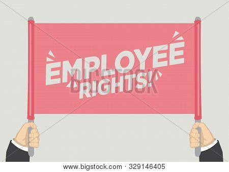 People Raised Hands And Shouting With Employee Rights. Concept Of Revolution Or Protest. Vector Illu