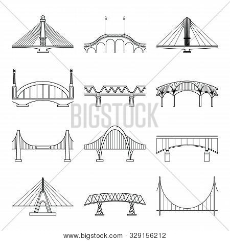 Bridges Line Icon Set. Vector Line Art Bridges Illustration Isolated On White Background.