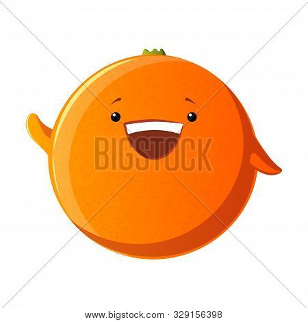 Cute Orange Character. Kawaii Fruit Vector Characters Isolated On White Background