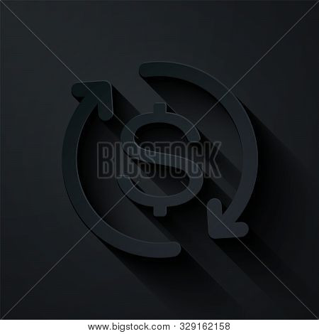 Paper Cut Return Of Investment Icon Isolated On Black Background. Money Convert Icon. Refund Sign. D