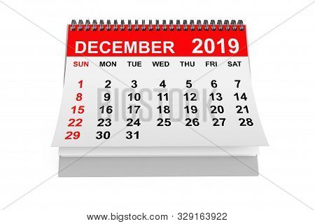 2019 Year December Calendar On A White Background. 3d Rendering