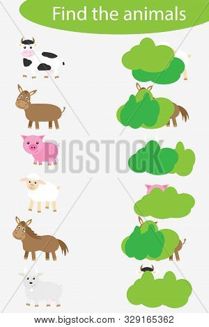 Who Are Hidding, Matching Game With Farm Animals For Children, Fun Education Game For Kids, Educatio