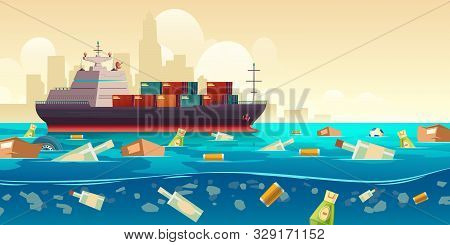 Pacific Ocean Plastic Garbage Pollution, Container Ship Moving By Trash Floating In Dirty Underwater