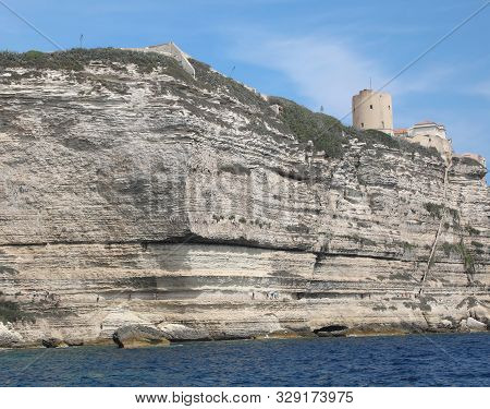 Famous Stairway Of Aragon King On The Cliff In Bonifacio Town In Corsica Island In France