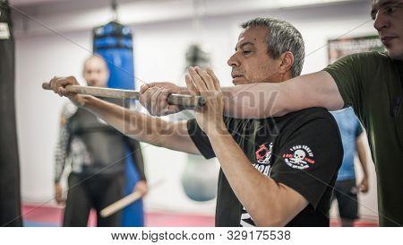 Kapap Krav Maga Instructor Avi Nardia Demonstrates Escrima Stick-fighting