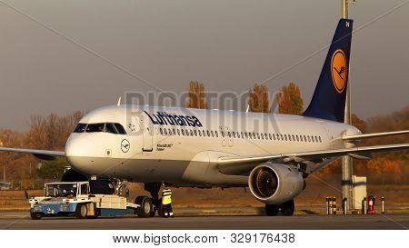 Borispol, Ukraine - October 18, 2019: The Pushback Of D-aipm Lufthansa Airbus A320-200 Aircraft In T