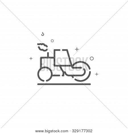 Asphalt Compactor Roller Simple Vector Line Icon. Paver Machine Symbol, Pictogram, Sign. Light Backg