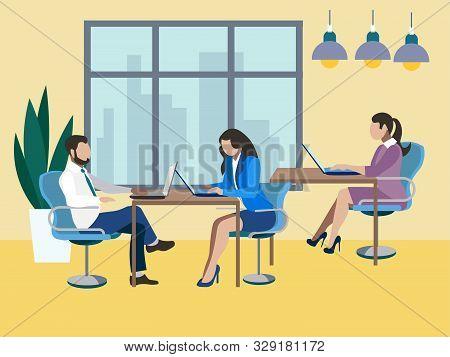 Training Future Employees, Secretary. Office Work, Report. In Minimalist Style. Flat Isometric Raste
