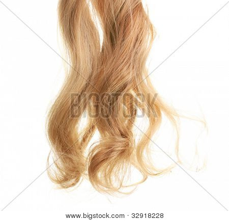 Curly blond hair isolated on white