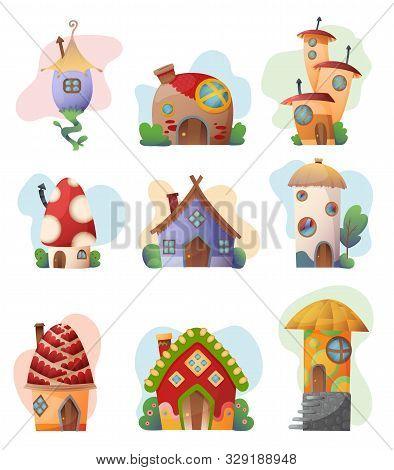 Fantasy House Set Vector Cartoon Fairy Treehouse And Housing Village Illustration Set Of Kids Fairyt