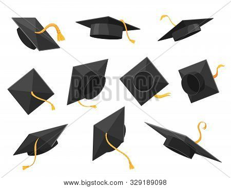 Graduation Cap Or Hat Vector Illustration In The Flat Style. Academic Caps Set. Graduation Cap Isola