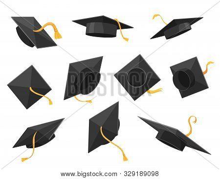 Graduation Cap Or Hat Vector Illustration In The Flat Style. Academic Caps Set. Graduation Cap Isola