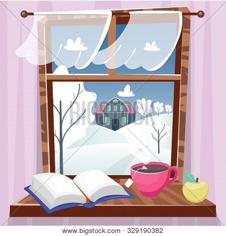 Cozy Winter Window With Beautiful View With Trees, House And Field. Book, Apple And Cup Of Tea On Th