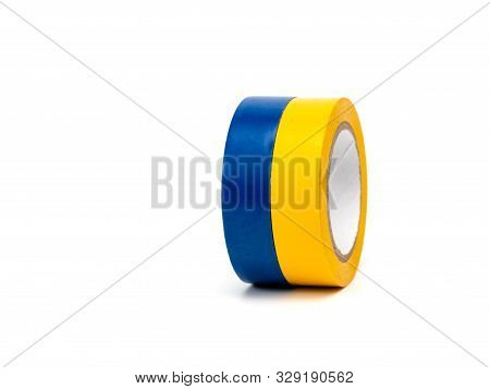 Photo multi colored insulating tapes on a white background. poster