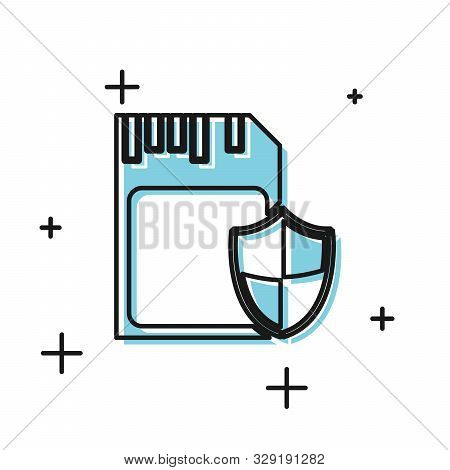Black SD card and shield icon isolated on white background. Memory card. Adapter icon. Security, safety, protection, privacy concept. Vector Illustration poster