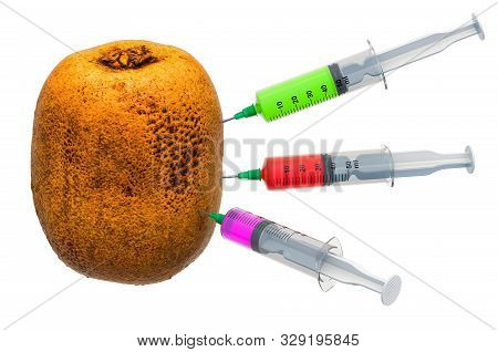 Kiwi with a syringes full of chemicals. Genetic Food Modification, concept. 3D rendering isolated on white background poster
