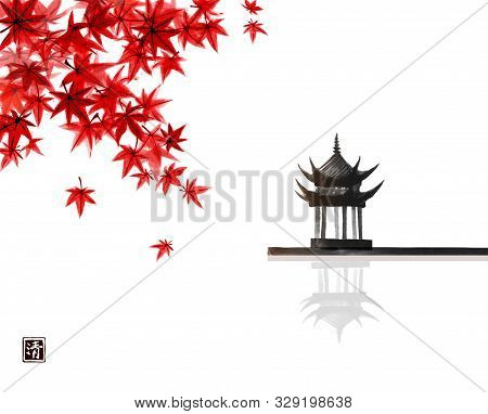 Red Japanese Maple Leaves And Pagoda Temlple Over The Water Surface. Traditional Japanese Ink Wash P