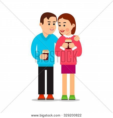 Couple Drinking Coffee. Young Boy And Girl Met And Spoken. Friendly Meeting. Attractive Woman Smilin