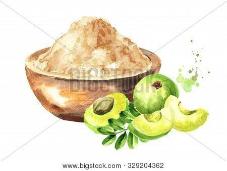 Amla Powder In The Bowl And Green Ripe  Fruits With Leaves, Watercolor Hand Drawn Illustration, Isol