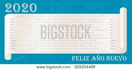 2020 Wall Calendar In Spanish. Happy New Year Text In Spanish. Calendario Español. 12 Months Line By