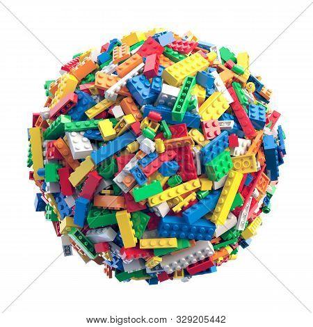Sphere Made Of Random Colored Toy Bricks
