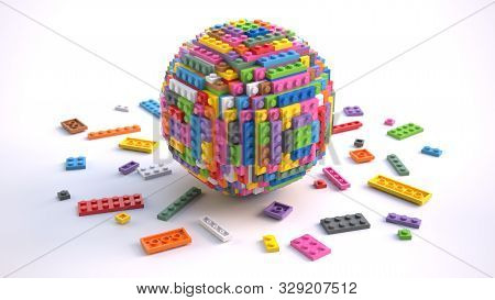 Colored Toy Bricks In Form Of Sphere Isolated On White Background