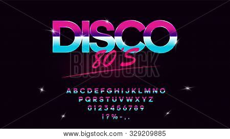 Retrowave Synthwave Vector Font In 1980s Style. Retro Design Letters, Numbers, Symbols And Set Of Le
